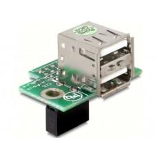 Adapter USB Pinheader Ženski > 2x USB2.0-A Ženski Vodoravni
