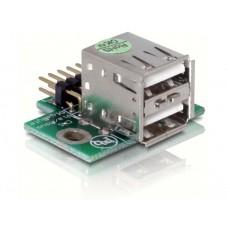 Adapter USB Pinheader Moški > 2x USB2.0-A Ženski