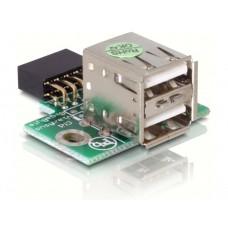 Adapter USB Pinheader Ženski > 2x USB2.0-A Ženski vertikalni