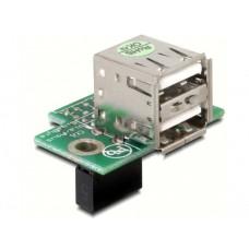 Adapter USB Pinheader Ženski> 2x USB2.0-A Ženski(RD)