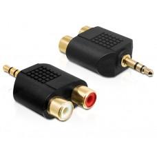 Adapter Jack 3,5mm Moški 3 Pin > Cinch rdeči/beli Ženski Delock
