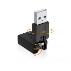 Adapter USB 2.0-A Moški > Ženski rotacijski Delock