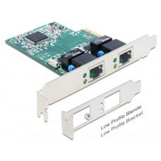 PCIe Gigabit LAN 2x +LowPr. DeLock mrežna kartica